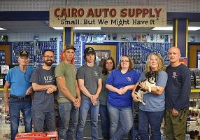 CAIRO AUTO SUPPLY current staff, pictured, l-r, Johnny Robinson, Brad Barber, Micah Plath, Marley Robinson, April Clinton, Tara Sadler, Tammy Wells, Tucker and Alan Wells. Not pictured is Michael Clinton.