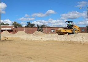 CONSTRUCTION IS UNDERWAY at full steam at Eastside Elementary School. Crews are preparing the pad for the new building to be constructed.