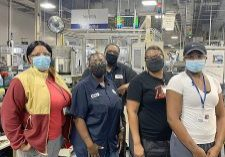 CAIRO KOYO EMPLOYEES on the job Tuesday as the company celebrates its 100th anniversary. Pictured, front, l-r, Iris Bogan, Tameka Duncan, Diane Sims and Jamika Maynor; back row, Samuel (Sam) King.