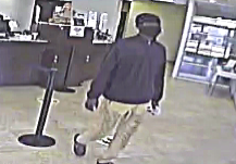 THE SUSPECT in an attempted bank robbery is pictured in this bank security video. (photo source: Cairo Police Department)