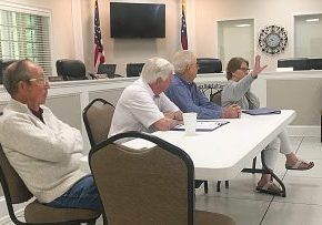 CHIEF APPRAISER Wendy Sadler, far right, makes a point as members of the Board of Assessors, l-r, John Tillis, Chairman Prentiss Mitchell, and Julian Rawls listen. The assessors briefed representatives of all local governing bodies last week.